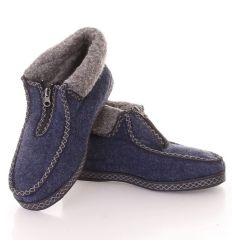 Férfi bundás cipzáros gumi talpú mamusz cipő (D-16-1)