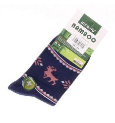 Bambusz normál zokni női norvég szarvasos (NZ-003)