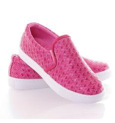 Fonott mintás műbőr női slip-on cipő (88-501)
