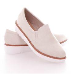 Egyszínű oldalt csíkos, recés talpú női műbőr slip-on cipő (T213)