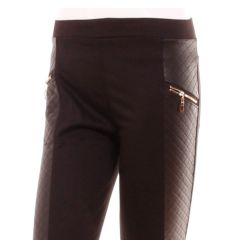 Női nadrág vagány, magasabb derekú, cipzáras, bőrhatású L