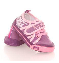 Oldalán kis szíves, tépőzáras, gumis lány vászon cipő (A9948P)
