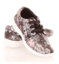 Virágos, farmer mintás fűzős gyerek vászon sportcipő (8-8,8-9)