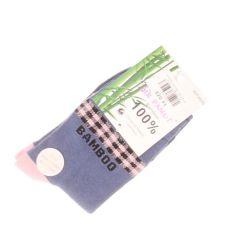 Kockás mintás, bambusz feliratos, női normál zokni (WP2605)