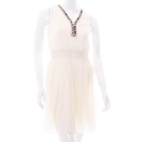 Gyöngyös láncos, hátán csipkés, derekán horgolt betétes női ruha (Q871)