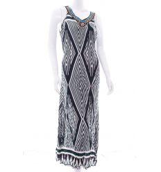 Nyakánál gyöngyös, nagy rombusz mintás, megkötős női maxi ruha (NK25312)