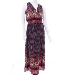 Nyakánál cipzáros, szoknyarészén kis virágos, gumis derekú női maxi ruha (NK25135)
