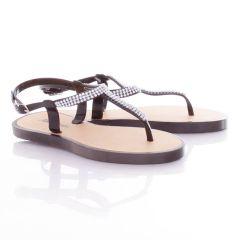 Strasszköves, lábujjközös, vastag talpú női gumi szandál (T89)