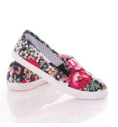 Farmeres, kis színes virágos, oldalt gumis, belebújós női vászon cipő (88-213)