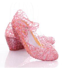 Zárt orrú, éksarkú, csillogós női gumiszandál cipő