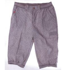 Csíkos, derekánál gumis, zsebes, férfi vászon térdnadrág (G3206A)