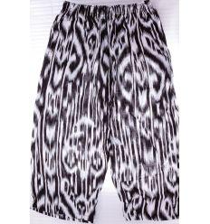 Függőleges mintás, derekán gumis, zsebes női pamut halász nadrág (K-702)