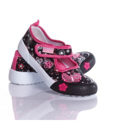 Pillangós, virágos tépőzáras lány vászon cipő (A9229)