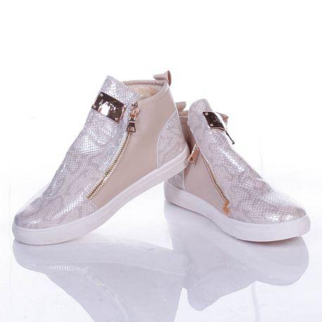 Kígyó mintás, bundás, arany cipzáros, bilétás női magasszárú cipő (808-707)