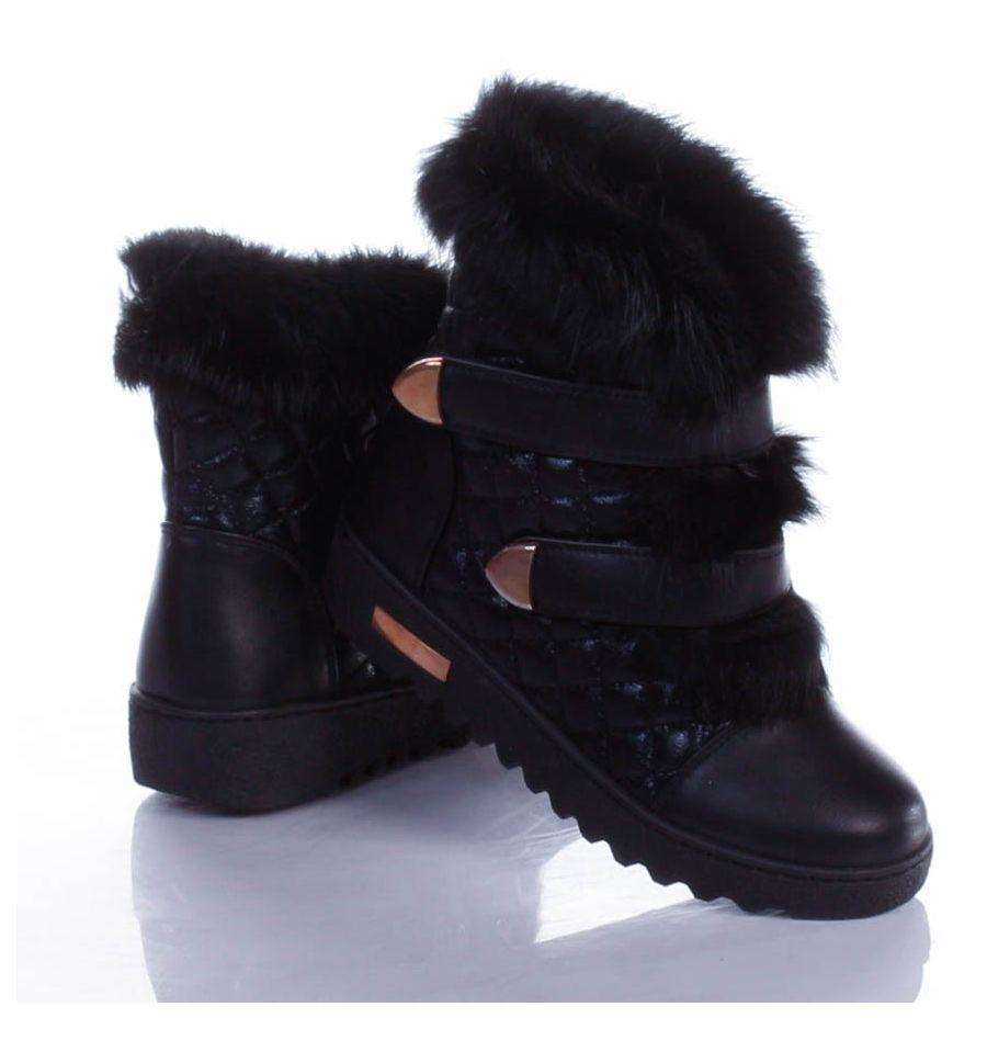Fekete Női Szőrmés Műbőr Utcai Cipő HÓTAPOSÓK Női cipő