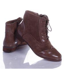 Varrott mintás, fűzős, enyhén bélelt női magasszárú cipő (T302)
