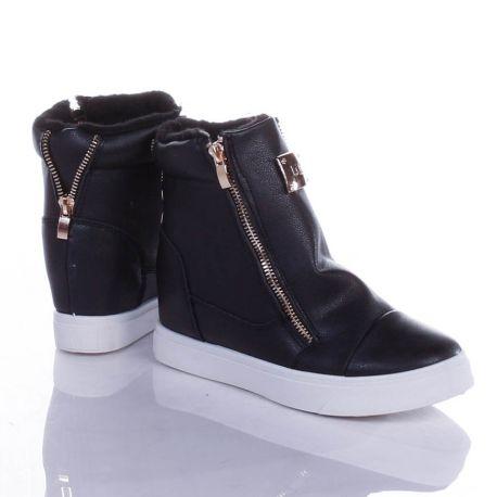 Bundás, rejtett éksarkú, arany bilétás, magasszárú női műbőr cipő (88-724M)