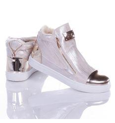 Bundás, arany orrú-sarkú, magasszárú női cipő (88-708M)