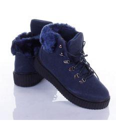 Vastag talpú, enyhén bélelt, szárán szőrmés bakancs jellegű női cipő (LT66-22)