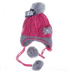 Masnis, fülvédős, bolytos, polár béléses kötött lány sapka (VX6006)