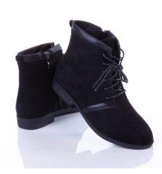 Fűzőjénél bőrbetétes, magasszárú női velúr félcipő (T301)