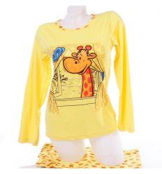 Zsiráf mintás, puha pamut női hosszú pizsama (1036)