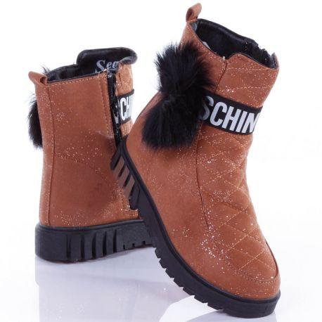 Bundás, csillámos, oldalt bojtos női vastag talpú cipő (WB31)