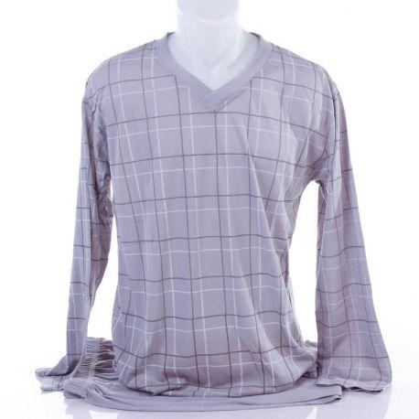 Kockás, v-nyakú, pamut férfi hosszú pizsama (1113)