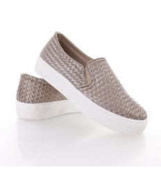 Fonott mintás műbőr női slip-on sneakers cipő (SS12)