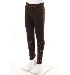 Száj mintás, köves, bevarrt gumis, farmeres lány leggings (778-3)