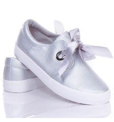 Selyem szalagos, megkötős műbőr női slip-on cipő (NB92)