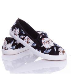 Virágos, oldalt gumis, belebújós női vászon cipő, slip-on (88-217)