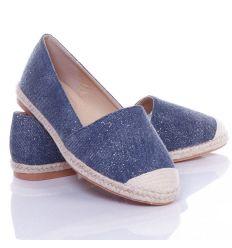 Csillámos, vászon anyagú, körben fonott mintás női belebújós cipő, slip-on (JH23)