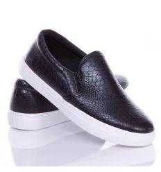 Kígyó mintás belebújós sneakers, slip-on női műbőr cipő (88-505)