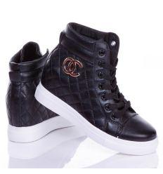 Rejtett éksarkú, magasszárú műbőr női fűzős cipő (AN6653)