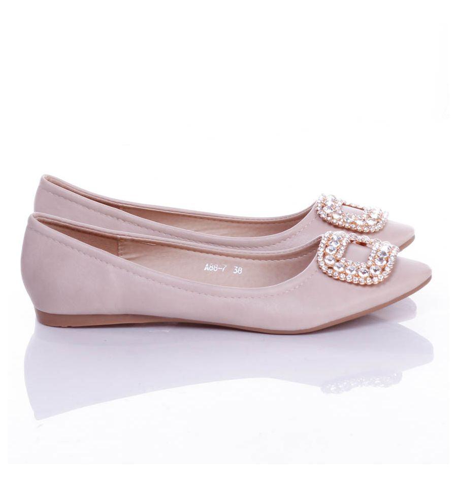 Nyitott orrú köves masnis elegáns női balerina cipő
