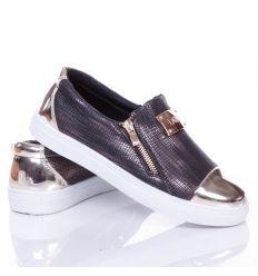 Arany orrú, bilétás, cipzáros női mintás slip-on cipő (88-703)