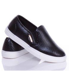 Kígyó mintás bilétás műbőr slip-on sneakers cipő (0015-102 C-A)