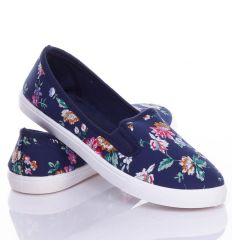 Virágos, gumis női belebújós vászon cipő (88-214)