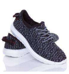 Könnyű, gumis talpú, fűzős férfi sportcipő, mintás textil felsőrésszel (88-606)