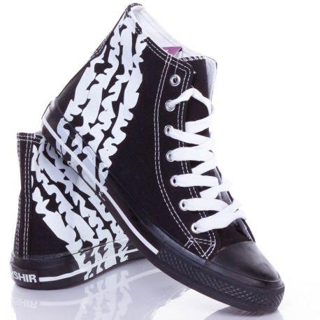 Keréknyom mintás, fűzős, magasszárú férfi vászon torna cipő (CQ-62)
