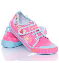 Eper mintás, gumis-tépőzáras lány vászon cipő (A9940)
