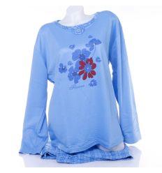 Bolyhos virágos mintás kockás nadrágos női pizsama (136A)