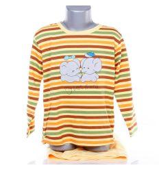 Elefánt mintás, csíkos, pamut gyerek hosszú pizsama (325A)