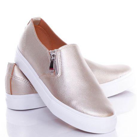Oldalt gumis cipzáros, műbőr, női belebújós slip on cipő