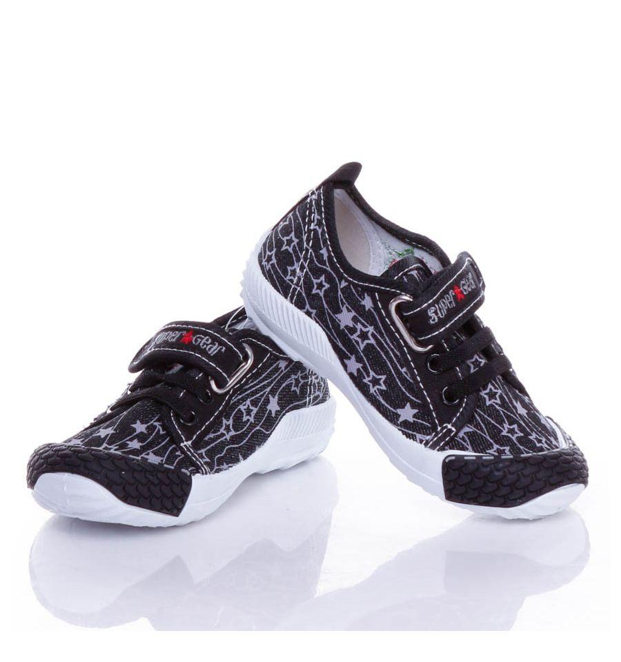 Csillag mintás, tépőzáras gumis, harántemelős fiú vászon cipő, benti cipő (A9398P)