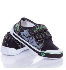 Lovag emblémás, 2 tépőzáras, harántemelős fiú vászon cipő, benti cipő (A9446P)