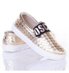 Fonott mintás feliratos gumis belebújós, slip-on női cipő (88-515)
