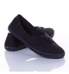 Egyszínű balerina fazonú fűzős vászon cipő (988)
