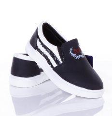 Oldalt csíkos mintás, gumis belebújós kamasz műbőr cipő (X-2166)
